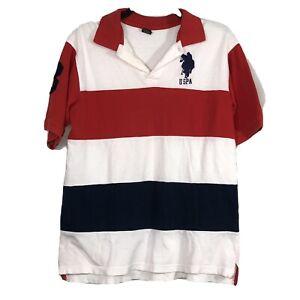 USPA US Polo Assn Polo Shirt Collared Pique Boys Size 18 Red White Blue Logo