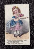 Early Victorian Valentine Card Hand Painted Lithograph Poem Girl Bouquet 4.75x3