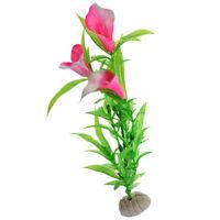 Rose Pink Plastic Calla Lily Decoration for Aquarium Fish Tank 5 Pcs X5W6
