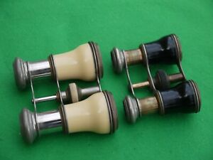 2 EXCELLENT VINTAGE FULLY WORKING PAIRS OF OPERA GLASSES SMALL BINOCULARS