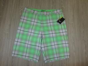 NWT NEW Nike Golf Tour Performance Green Plaid Shorts 36 Dri-Fit Lounge Dress