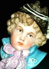 Antique German Victorian Heubach Era Boy Doll Bisque Porcelain Bust Figurine