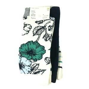 A New Day Womens Floral Crew Socks 4-10 Blue Cream Floral Stripe 3 Pairs