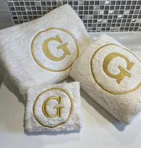 Monogram Towels, Embroidered Circle Initial, Facecloths, Hand and Bath Towels