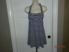 Lands End Women's Swimsuit Tankini Top Navy Blue White Striped Swim Dress Sz 4