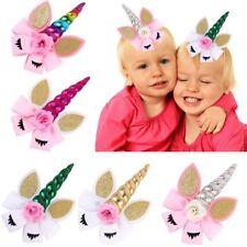 "8"" Unicorn Hair Bow With Clip For Girls Kids Plain Ribbon Glitter Ear Flower Bow"