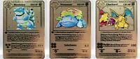 Charizard, Venusaur, Blastoise Shadowless  1st Edition Gold Metal Custom Pokemon