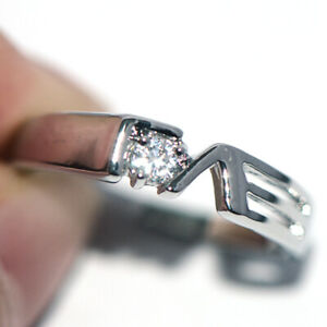 """Crystal CZ """"Love""""Rings Silver White Gold Wedding Party Rings for Womens Size 6"""