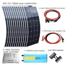 Panel Solar De 1200W Sistema Solar 50A controlador +2000w Inverter Para Casa Barco Yate