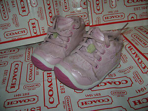STRIDE RITE SHAYNA BABY GIRLS CRIB WALKING SHOES size 3.5 W PINK LEATHER FLOWER