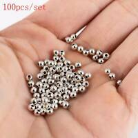 100PCS 3mm 925 Silver Round Ball Beads For Bracelet Jewelry Making Findings New