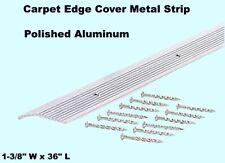 "Carpet Edge Cover Metal Strip 1-3/8"" W x 36"" L Silver Fluted Top Transition Seam"