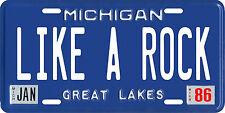Bob Seger Like a Rock Michigan Metal License Plate