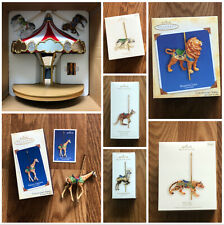 Hallmark Musical CAROUSEL RIDE +5 Ornaments Display Set MINT Proud Giraffe
