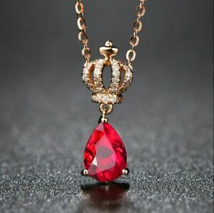 2 CT Pear Cut Solitaire Tear Drop Pink Ruby Crown Pendant In 14K Rose Gold Over