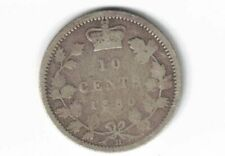 CANADA 1880H 10 CENTS DIME QUEEN VICTORIA STERLING SILVER CANADIAN COIN