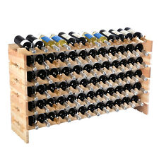 New 72 Bottle Wood Wine Rack Stackable Storage 6 Tier Storage Display Shelves