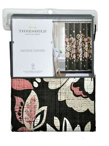 Threshold Floral Coral Design Shower Curtain 100% Cotton 72 x 72 in
