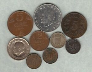 NINE NORWAY COINS 1891 TO 1984 IN GOOD FINE OR BETTER CONDITION.