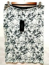 RICHMOND SKIRT WOMEN  STRAIGHT TO KNEE WHITE WITH BLACK DRAWING ABSTRACTIONN  M
