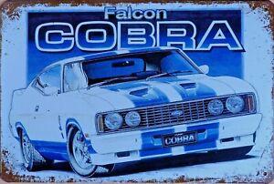 FORD FALCON COBRA Rustic Metal Tin Sign. Vintage Garage,  Bar & Man Cave
