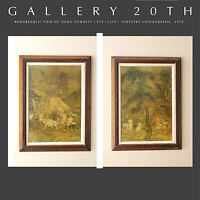 WOW!! PAIR MID CENTURY SONG DYNASTY TAPESTRY PRINTS! ART CHINA 1930's 1920'S VTG