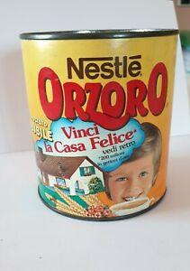 barattolo in latta Orzoro, senza coperchio, data scadenza ott. '89. Vintage