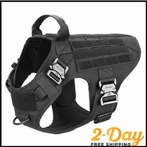 ICEFANG Tactical Dog Harness with 4X Metal Buckle,Dog MOLLE Vest with Handle,No