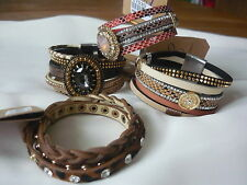 Modeschmuck-Armbänder aus Leder ohne Metall für Damen