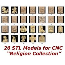"26 3d STL Models - "" Religion Collection "" for CNC Artcam 3d Printer Laser etc."