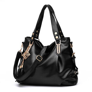 Schwarz Damen Leder Handtasche Schultertasche Frautasche Shopper Bag Damentasche