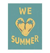 We Love Summer Luv Heart Flip Flops Thongs Sticker Decal Graphic Vinyl Label