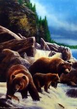 "Kevin Daniel  ""Family Fishing"" Bear Art Print  12.5"" x 17.25"""