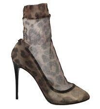 DOLCE & GABBANA Shoes Brown Leopard Tulle Ankle Boots s. EU37 / US6.5 RRP $1000