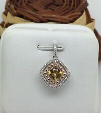 14K White Gold Natural Diamond and Citrine Pendant