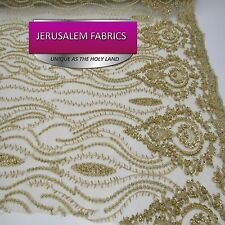 Classy bridal wedding beaded mesh lace gold. sold by the yard.