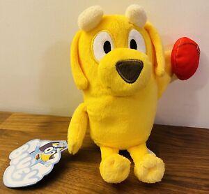 "*NEW* BLUEY FRIENDS 8"" Stuffed Plush Animal ""LUCKY"" football YELLOW LAB DOG"