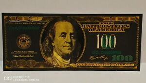 T2, Collectable New USA Gold Black Coloured Plated One Hundred Dollar Banknote