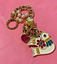 Betsey Johnson Vintage Dove Bracelet with Charms. So Cool!