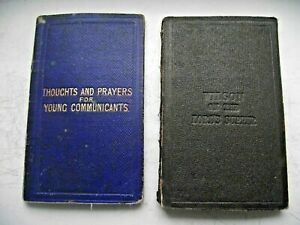 2 VICTORIAN 1862 DATED CHRISTIAN FIRST COMMUNION PRAYER BOOK GOLBOURNE WIGAN
