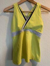 Lululemon Womens Deep V Yellow Mesh Yoga Workout Running Tank Top Shelf Bra 8