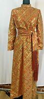 Vintage 1969  Metallic Gold Orange Lurex Maxi Long Party Dress Mod w/ Scarf