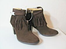 """WILLA WONDER ANKLE SHOE/BOOT~BROWN WITH FRINGE~SIDE ZIP~SZ 6M~3"""" STACK HEEL~NEW"""