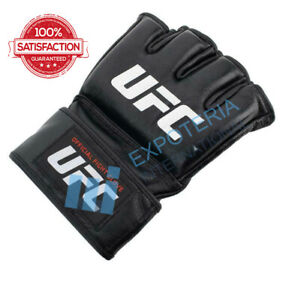 UFC MMA Black Fighting Boxing Top Quality Leather Gloves All Size Available