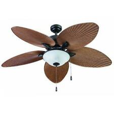 "52"" Brown Palm LED Indoor/Outdoor Ceiling Fan with Light Kit"