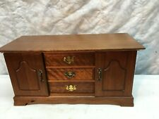 VINTAGE  MID CENTURY CABINET FELT DRAWERS SOLID WOOD JEWELRY