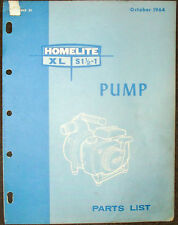 HOMELITE PUMP PARTS LIST MANUAL MODELS XL S1 1/2 - 1
