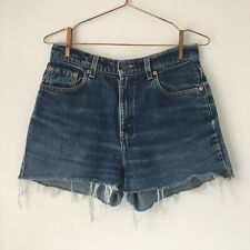 Vintage Levi's 566 Cut Off Blue High Waisted Denim Shorts Womens Size W31/ UK12