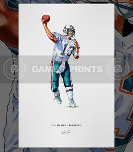 Dan Marino Miami Dolphins Football Illustrated Print Poster Art