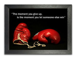 Boxing #18 Give Up Let Win Motivation Determination Champion Inspiration Poster